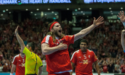 Mikkel Hansen showed a lot of affection after scoring on a direct free throw in the end of first half against Norway. | Photo: Bjørn Kenneth Muggerud