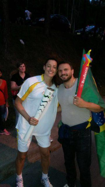 Eduarda Amorim and her husband.
